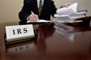 Desk sign that says IRS