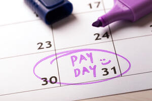 pay day circled on a calendar