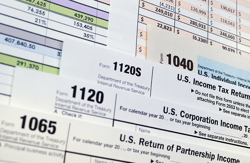 Various tax forms: 1065, 1120, 1120S, 1040