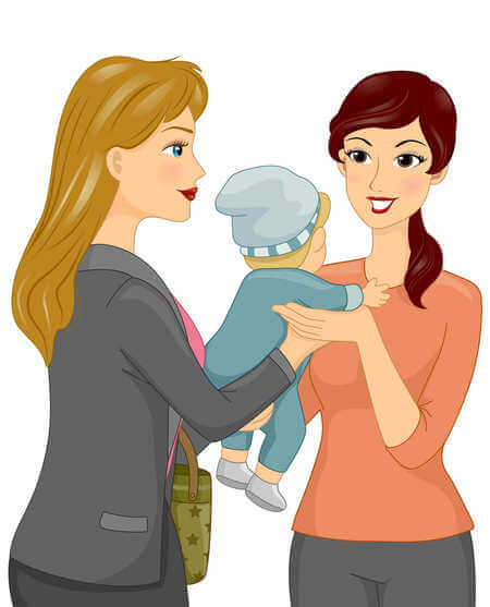 Graphic of a mom handing her baby to a caregiver