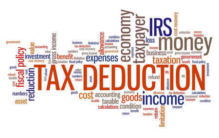 A graphic of a bunch of words together with tax deduction in the forefront