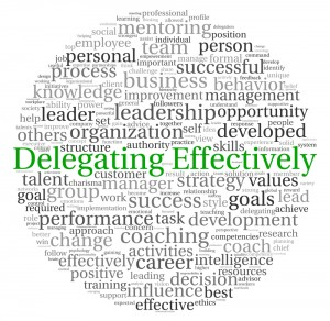 Word cloud that highlights Delegating Effectively